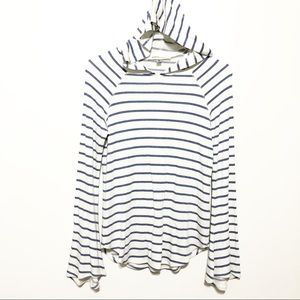 KAREN by Karen Kane Striped hooded modal top